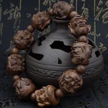 越南皮la木沉香木雕hi罗汉貔貅佛珠男女式手串黑檀乌木手链