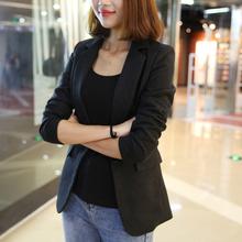 (小)西装la2021春er修身韩款气质显瘦长袖灰黑色OL正装西服外套