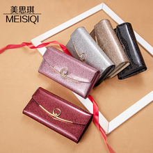 手机包la皮女士钱包er致高档时尚大容量多卡位漆皮卡包三折包