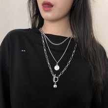 女潮的lans网红嘻er韩款个性双层挂件毛衣链冷淡风装饰品
