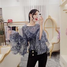 韩衣女la收腰上衣2er春装时尚设计感荷叶边长袖花朵喇叭袖雪纺衫