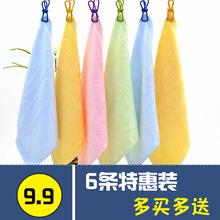 【6条la】竹炭纤维ei方巾木纤维抹布油立除净(小)毛巾吸水