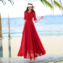 香衣丽la2021五ng领雪纺连衣裙长式过膝大摆波西米亚沙滩长裙