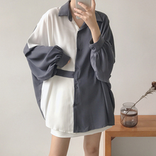 韩国拼la横带纽扣衬ne松大码蝙蝠袖中长式厚雪纺衬衫女秋C8801