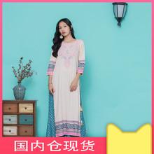 野的(小)la 印度服饰si印花纯棉民族风传统七分袖上衣2019 春夏