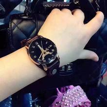 手表女复古la艺霸气个性si学生欧洲站情侣电子石英表真皮表带