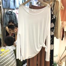 上衣女la020新式si宽松显瘦打底衫白色套头长袖T恤薄式防晒衫
