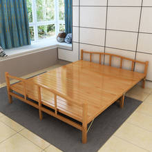 折叠床la的双的床午en简易家用1.2米凉床经济竹子硬板床