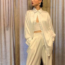 WYZla纹绸缎衬衫iu衣BF风宽松衬衫时尚飘逸垂感女装