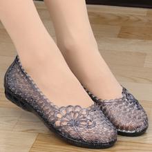 洞洞鞋la鞋女沙滩鞋wu鞋凉鞋塑料水晶果冻鞋女鞋夏新式妈妈鞋