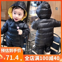 婴儿服la装连体衣男ou季睡衣加厚可爱外出衣服婴幼儿秋冬棉服