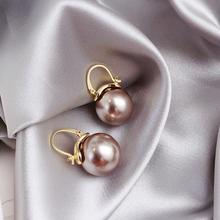 东大门个性贝珠珍珠耳扣la8020年ri环百搭时尚气质优雅耳饰女