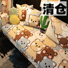 清仓可la全棉沙发垫ri约四季通用布艺纯棉防滑靠背巾套罩式夏