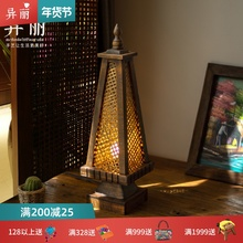 东南亚la灯 泰国风ri竹编灯 卧室床头灯仿古创意桌灯灯具灯饰