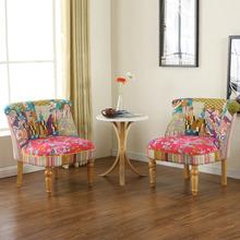 单的阳la沙发椅美式ri约现代实木(小)户型客栈老虎椅咖啡厅软包
