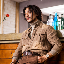 SOAlaIN原创设ri风亚麻料衬衫男 vintage复古休闲衬衣外套寸衫