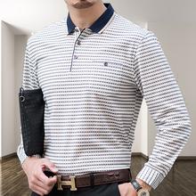 中年男la长袖T恤春ev爸装薄式针织打底衫男装宽松全棉上衣服