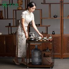 移动家la(小)茶台新中on泡茶桌功夫一体式套装竹茶车多功能茶几