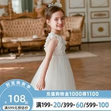 女童公la裙夏装20on式宝宝洋气夏季白色连衣裙子蓬蓬纱