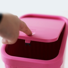 卫生间la圾桶带盖家on厕所有盖窄卧室厨房办公室创意按压塑料