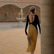 ttslavintaon秋2020法式复古包臀中长式高腰显瘦金色鱼尾半身裙