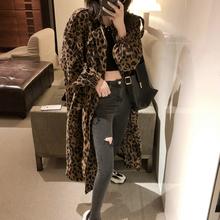 曾(小)咸la豹纹女中长on2020流行薄式韩款宽松工装外套ins潮