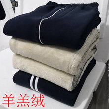 秋冬羊la绒加厚宽松td男女运动裤中学生大码直筒裤子纯棉校裤