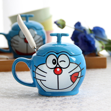 叮当猫la通创意水杯yn克杯子早餐牛奶咖啡杯子带盖勺