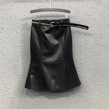 黑色(小)la裙包臀裙女yn秋新式欧美时尚高腰显瘦中长式鱼尾半身裙