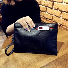 女手包la式潮大容量wt情侣休闲手拿包时尚复古手抓包软面钱包