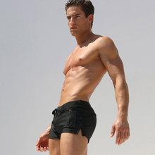 黑色男lb角低腰开叉sq尚纯色男生游泳衣前口袋系带速干游泳裤