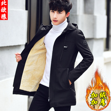 男士外lb秋冬季20wh式加绒加厚风衣中长式休闲夹克男装秋装外衣