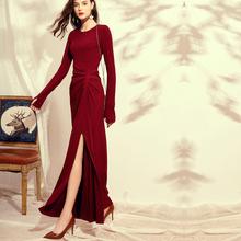 春秋2lb20新式连wh底复古女装时尚酒红色气质显瘦针织裙子内搭