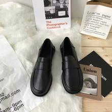 (小)sulb家 韩国cwh黑色(小)皮鞋原宿平底英伦学生百搭休闲单鞋女鞋潮