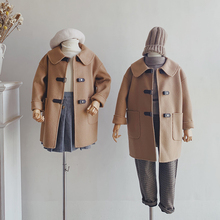 Suelctary bx的儿] 驼色全羊毛真皮扣 男童女童双面呢大衣亲子