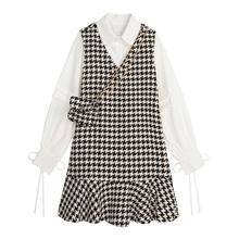 VEGlc CHANdk裙套装女新式长袖衬衫毛呢背心鱼尾裙两件套