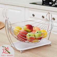 创意水果盘客厅果篮家用lc8红水果收sc不锈钢果盘子现代简约