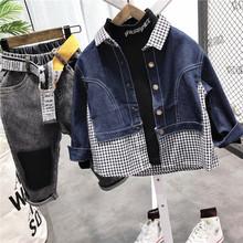 男童长袖牛仔衬衫2021秋lc10新款儿xt格子洋气宝宝牛仔外套