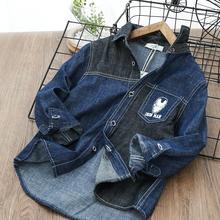 男童牛仔衬衣新款春lc6儿童衬衣xt孩长袖薄款衬衫童装