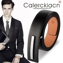 CK3lc时尚正装休qf商务真皮男士皮带女士简约纯平滑扣