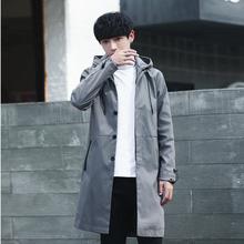 风衣男lc长式韩款潮xs学生英伦披风男工装大衣男士外套春秋潮
