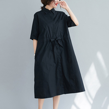 韩款翻lc宽松休闲衬cc裙五分袖黑色显瘦收腰中长式女士大码裙