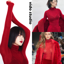 红色高ld打底衫女修d5毛绒针织衫长袖内搭毛衣黑超细薄式秋冬