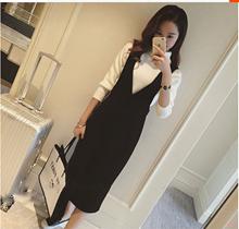 202ld春秋季女装hf带裙黑色V领无袖背心连衣裙中长式包臀裙