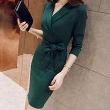 新式时尚韩款气质长袖职ld8连衣裙2hf冬修身包臀显瘦OL大码女装