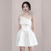 202ld夏季新式名hf吊带白色连衣裙收腰显瘦晚宴会礼服度假短裙