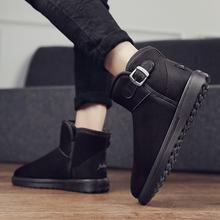 冬潮雪ld靴男平底休hf靴加绒加厚透气棉鞋保暖防滑套筒面包鞋