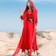 青海子ld仙海边大红wh裙长裙服装沙漠拍照衣服民族风女