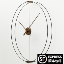 家用艺ld静音创意轻wh牙极简样板间客厅实木超大指针挂钟表