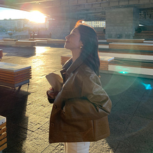 EKOleL短式pund套女春季2021新式韩款百搭修身显瘦机车皮夹克